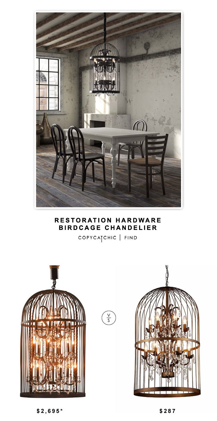 Restoration Hardware Birdcage Chandelier $2695 vs @overstock Warehouse of Tiffany Rinee III Cage Chandelier $287