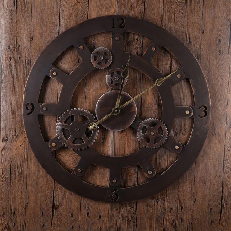 60CM Large Wall Clock Saat Clock Reloj Duvar Saati Horloge Murale Relogio de parede Gear Round Klok Vintage Wall clocks watch