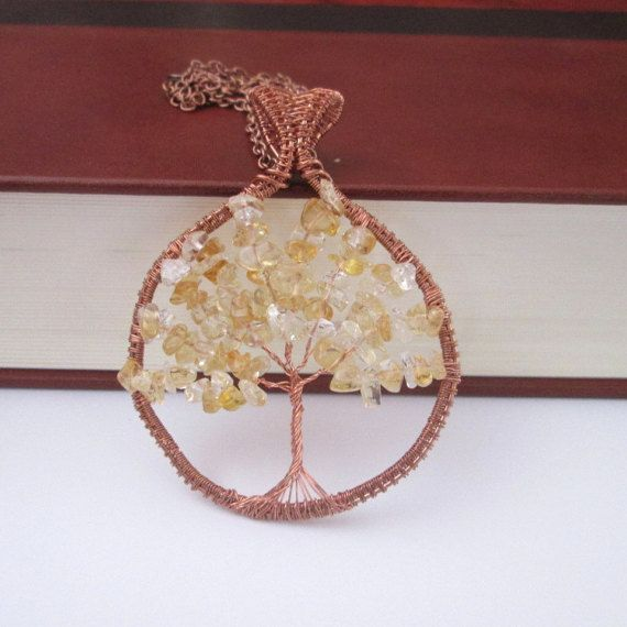 citrine  tree of life pendant citrine bealing crystal gemstone jewelry gifts fashion style boho by FloralFantasyDreams