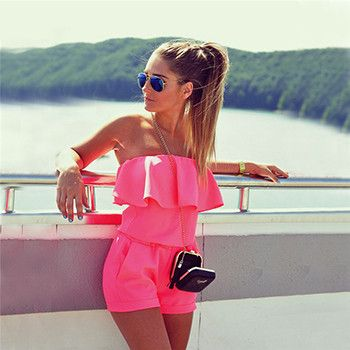 Summer Fashion women solid color ruffles jumpsuit sexy strapless tunic rompers plus size