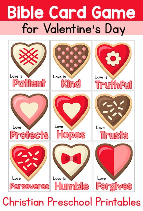 Christian Valentine's Day Cards  Use as flashcards, memory game, go fish or hand out for Valentine's Day.  Qualities of Love taken from 1 Corinthians 13:4