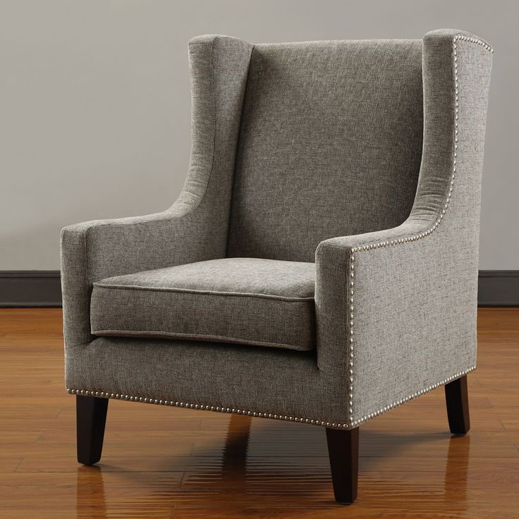 Grey Nailhead Wingback Chair $326