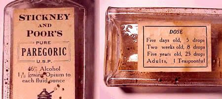 """PAREGORIC ..in the early 18th century Jakob Le Mort (1650–1718) a professor of chemistry at Leiden Univ. in the Netherlands, prepared an elixir for asthma & called it """"paregoric""""... a household remedy in the 18th &19th centuries, widely used to control diarrhea in adults & children, an expectorant & cough medicine, calm fretful children including infants, & to rub on the gums to counteract the pain from teething...until 1970, it could be purchased at a pharmacy without a medical…"""