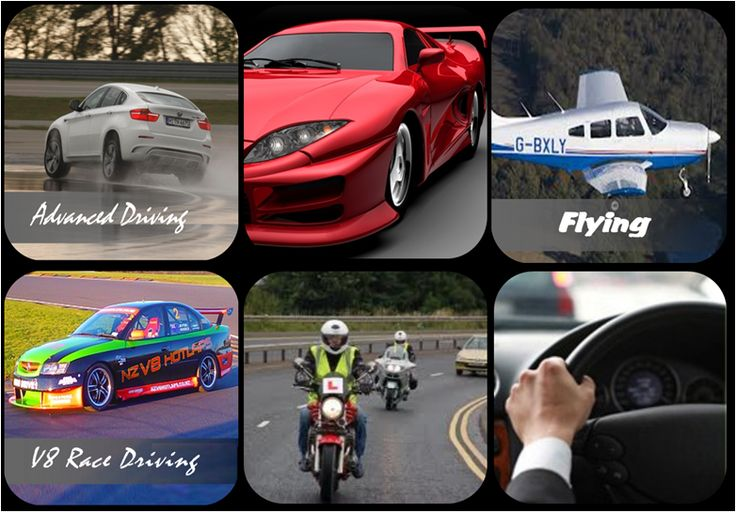 Advanced driving, track days, motorcycle riding lessons and flying lessons.