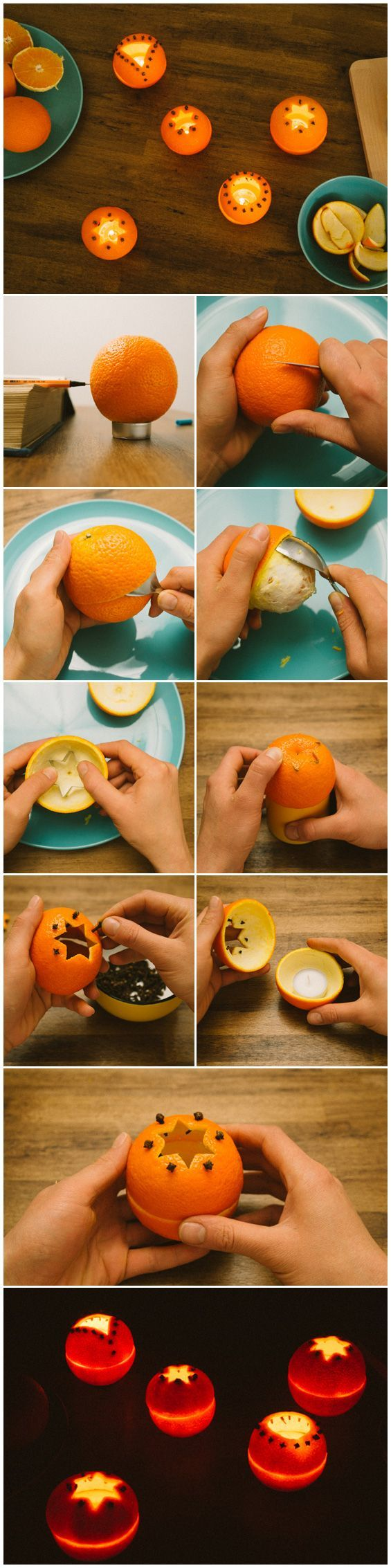 DIY candle holders made from oranges. Would be great for summer parties and citronella candles!u