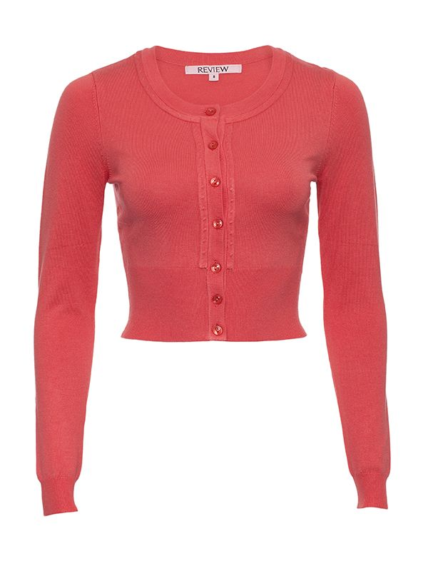 Chessie Long Sleeve Cardi in Coral   Knitwear   Review Australia
