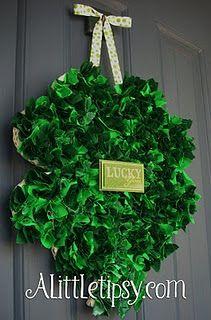 st. paddy's day wreath  http://www.alittletipsy.com/2010/03/scrappy-st-patricks-day-shamrock-wreath.html