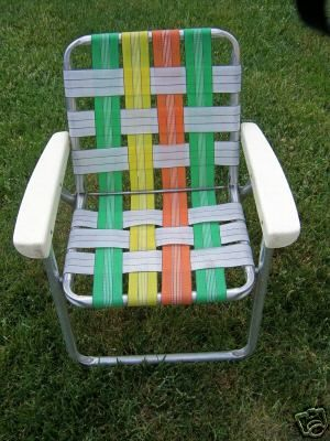 People hate on these 70's/80's lawn chairs (yes they tend to dig into your legs when you're sitting, no there's no cup holder for your beer, yeah they are kinda gaudy and bright).  But I love them, in a kitchy, vintage kinda way.  And thanks to my dad, I own two!