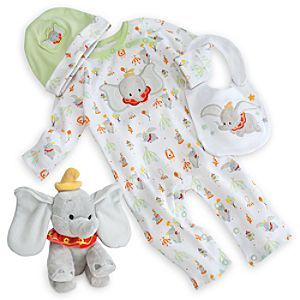 Disney Dumbo Layette Gift Set for Baby | Disney StoreDumbo Layette Gift Set for Baby - Your heart will soar with pride when giving this adorable layette gift set to Mr. Stork's latest delivery. Includes embroidered Dumbo Hat, Bib, and Disney Cuddly Bodysuit, plus soft Mini Bean Bag Plush toy, so take flight today!