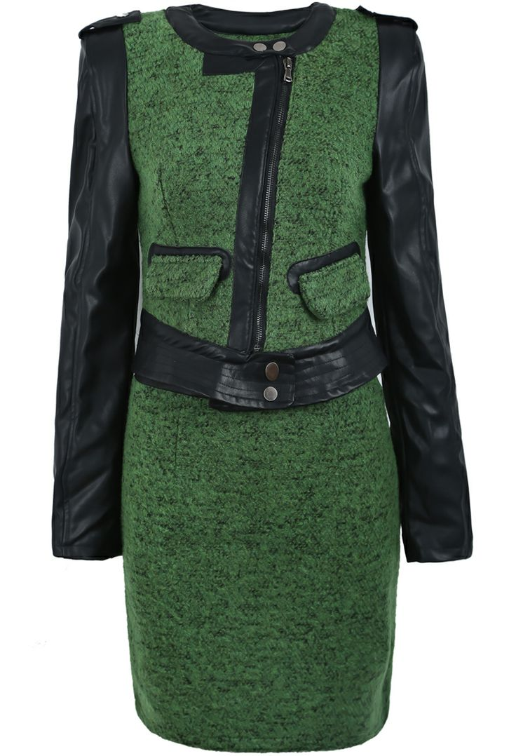 Green Contrast PU Leather Zipper Jacket With Skirt US$59.02