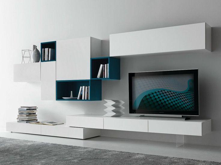 Parete attrezzata componibile laccata con porta tv CF56 Collezione Modus by Presotto Industrie Mobili | design Pierangelo Sciuto