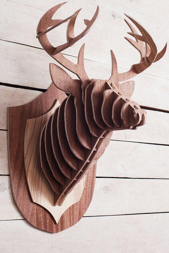 Hölzerne Hirsch Kopf 3D Tier Kopf Wand hängende h? lzerne Skulptur Holz Hirsch Wand Dekor Karton Tier Köpfe Präparatoren Stag Koepfe