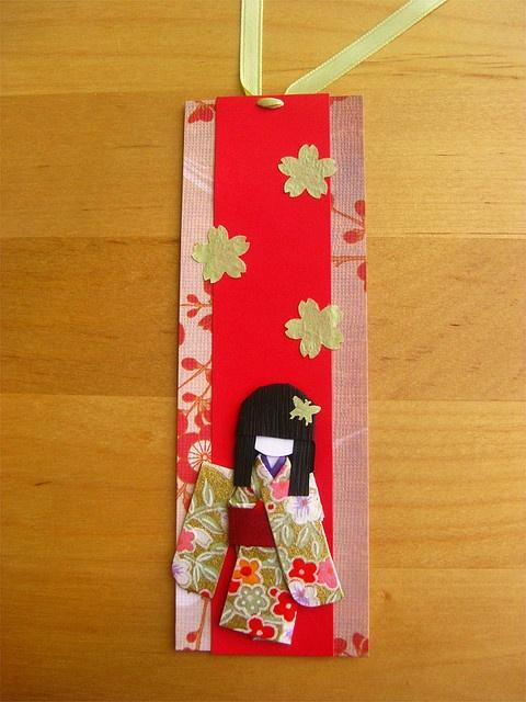 origami paper doll bookmark