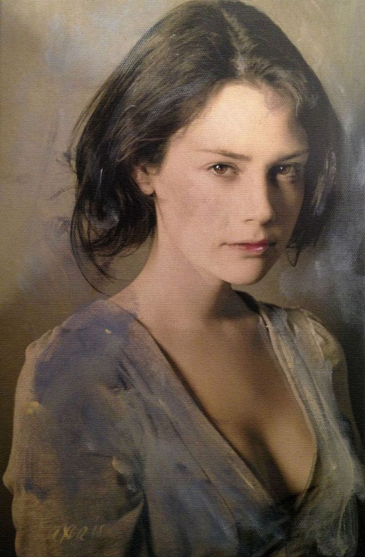 William Oxer, acrylic on canvas, 2015 {figurative art beautiful female head décolletage woman face portrait painting #loveart} william-oxer.com