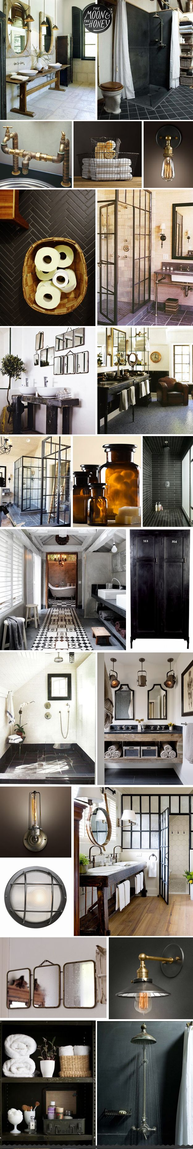 double sink, black shower, exposed pipes, basket, sconces, herringbone, iron shower, wood base, double sink, welded shower, glass jars, black tiles, patterned runner, towel cabinet, big shower, sinks, sconces, round sconce, bathroom, three mirrors, light, shelving, shower,