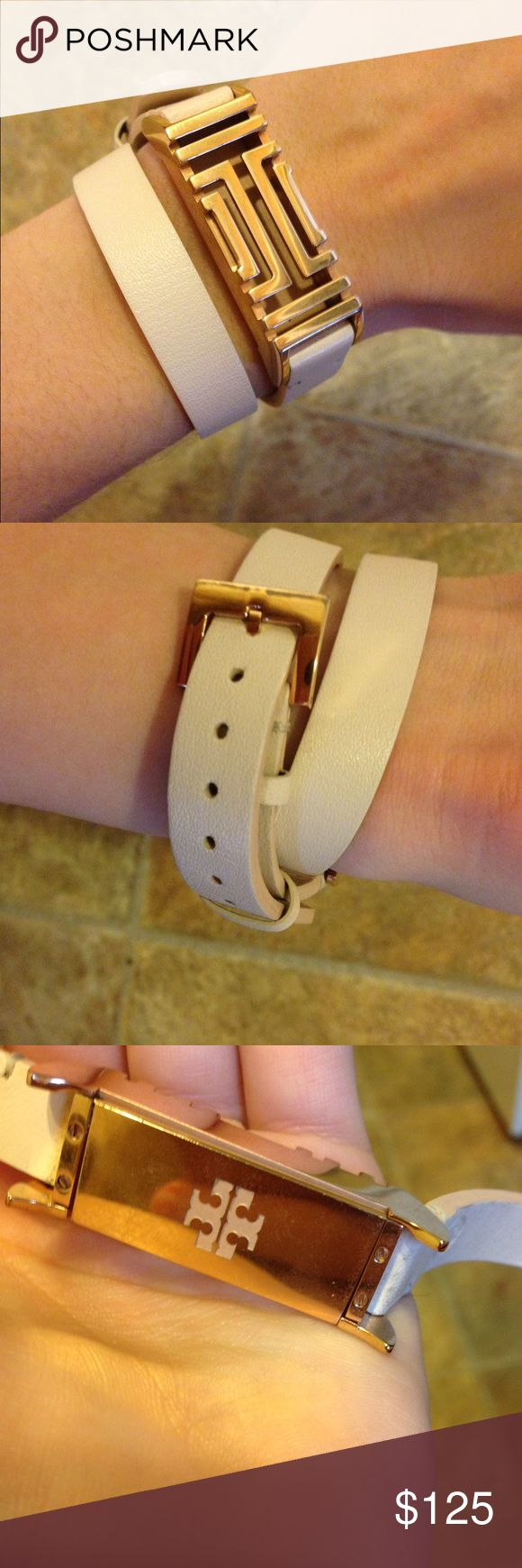 Gold Tory Burch Fitbit Bracelet Great condition! Adjustable band fits Fitbit flex. Price is firm. Tory Burch Jewelry Bracelets