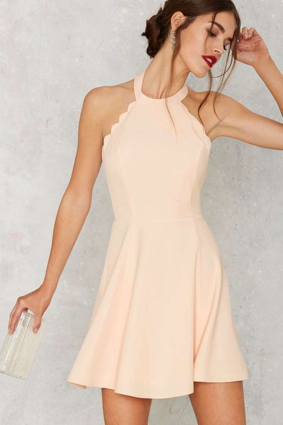 Full Scallop Attack Flare Dress, Peach Prom dresses, Short above knee Homecoming…