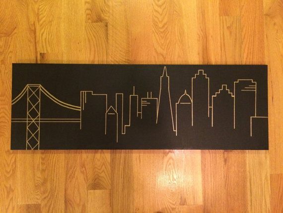 San Francisco Skyline Silhouette Painting 12 x by bluebrushstudios