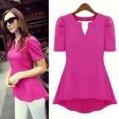 New Style Woman V Neck Short Sleeve Solid Rose Red Blouse