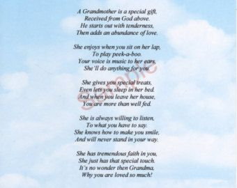 "Famous Poems About Grandmother's | Five Stanza ""What Is A Grandmother"" Poem shown on ""Clouds"" Background"