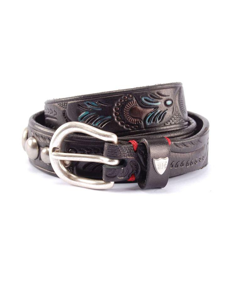 FLORA - Cintura in pelle borchiata, dettagli incisi e dipinti a mano e borchie rotonde, Made in Italy, altezza: 2 cm. #htclosangeles #tradingcompany #losangeles #weareartisans #leather #handmade