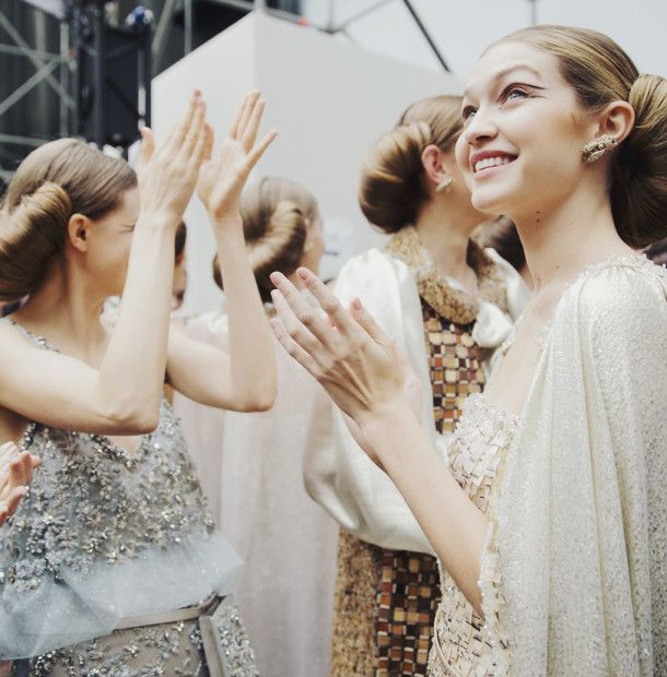 Gigi Hadid backstage at Chanel Haute Couture S/S 16