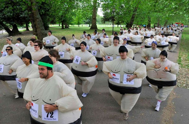 Guinness World Records - World's biggest sumo suit gathering A record was set for the largest gathering of people dressed as sumo wrestlers by 205 participants at the 3.1-mile Sumo Run in Battersea Park in London in June 2010.