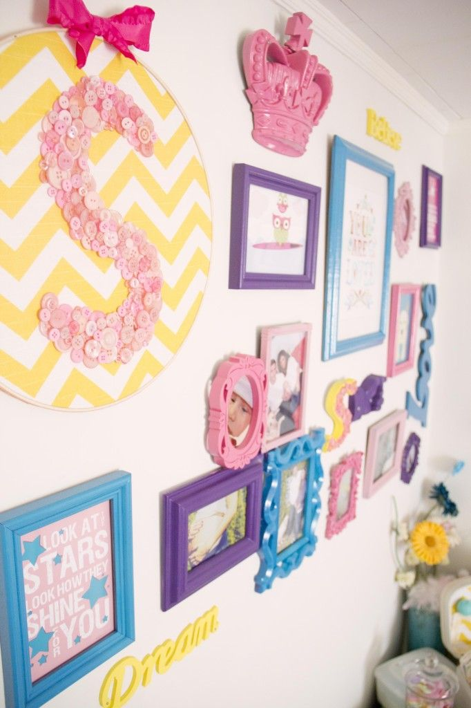 Colorful Nursery Gallery WallNurseries Wall, Maddie'S Room, Photo Gallery Walls, Projects Nurseries, Colors Gallery, Little Girl Rooms, Embroidery Hoops, Frames Wall, Bright Colors