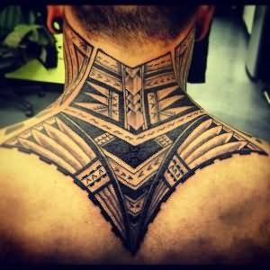 Amazing Man Upper Back Tribal Tattoo