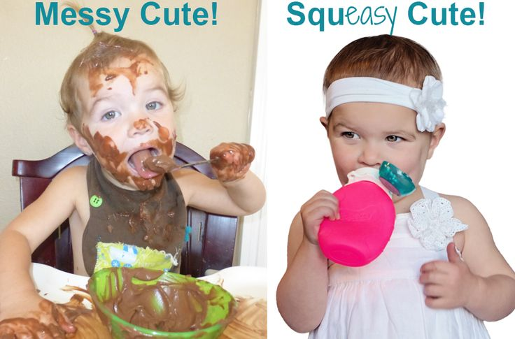 Squeasy Snacker reusable food pouch. Great for baby food, smoothies, yogurt, pudding, applesauce and even water, milk, or juice. No Leak! No Mess! No spill insert works great for all!