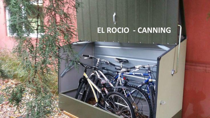 $14.500   Guarda Bicicletas de Exteriores MarcaTrimetals hecho de Acero recubierto en PVC, instalado en Country El Rocio - Canning - Buenos Aires. Gtia 20 años en la integridad de sus paneles  Los precios no incluyen IVA.