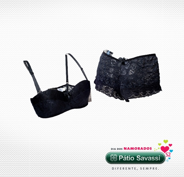 Soutien e calcinha Coleção Diamante Negro - Água Fresca - R$148,00