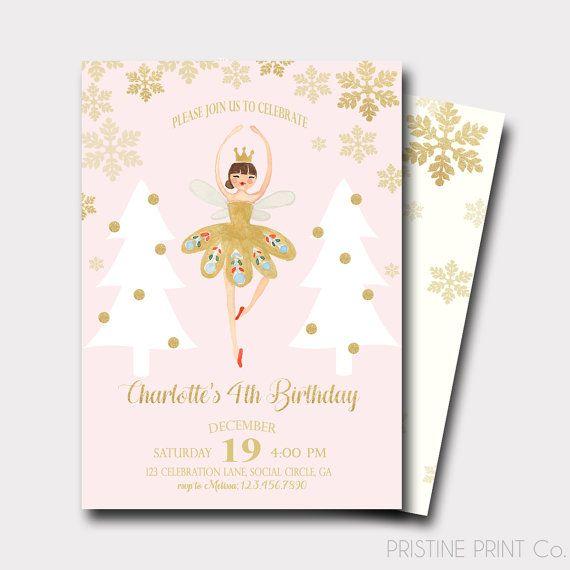 Invitación del cumpleaños del Cascanueces | Invitación de la bailarina | Invitación del cumpleaños de invierno | Nuestro pequeño copo de nieve | Copo de nieve invitación