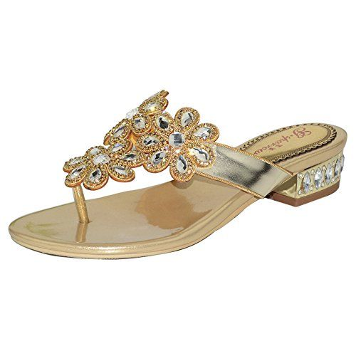 Wawoo Roman Style Rhinestones Flip Flops for Women Thong Sandals Lowheel Toe Strap * Want to know more, click on the image.