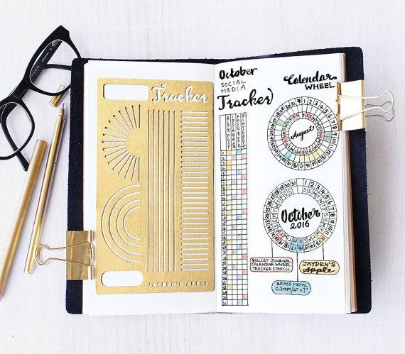 Bala revista plantilla, calendario rueda plantilla, plantilla de seguimiento mensual, hábitos Tracker plantilla - cabe A5 diario y Midori Regular
