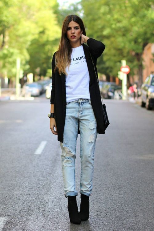 Shop this look for $176:  http://lookastic.com/women/looks/cardigan-and-boyfriend-jeans-and-ankle-boots-and-crew-neck-t-shirt-and-crossbody-bag/1938  — Black Knit Cardigan  — Light Blue Boyfriend Jeans  — Black Suede Ankle Boots  — White and Black Print Crew-neck T-shirt  — Black Leather Crossbody Bag