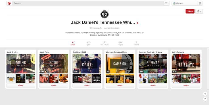 https://www.pinterest.com/jackdanielsus/ Jack Daniel's vertelt onder andere hoeveel graden alcohol de whiskey bevat. Ze waarschuwen om alleen te drinken op een legale leeftijd. Hun pins zijn vooral hoe je JD kunt combineren met eten/andere drankjes.