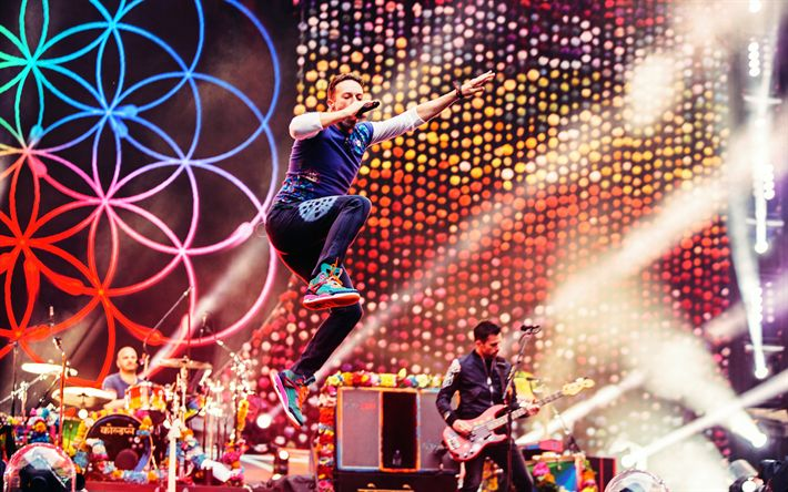 Download wallpapers Coldplay, 4k, pop rock band, concert, Wembley, Chris Martin