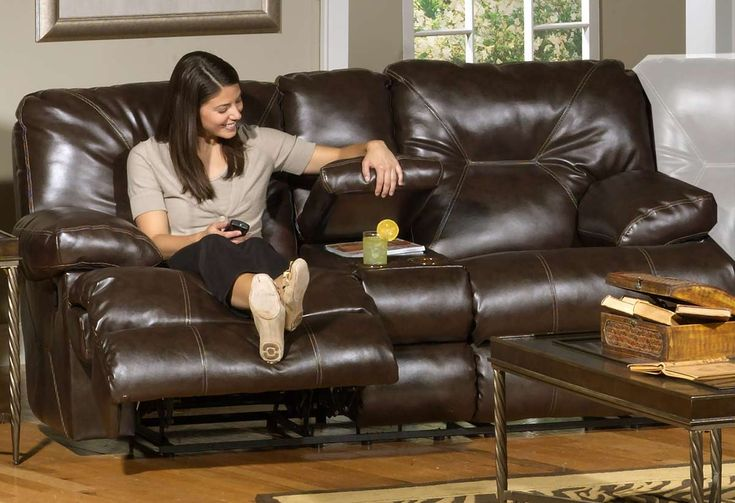 CatNapper Furniture Cortez Bonded Leather Reclining console Loveseat