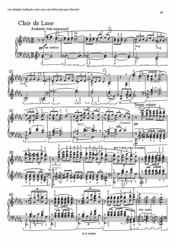 Partition Du Clair De Lune De Debussy Avec Les Doigtes Et Les