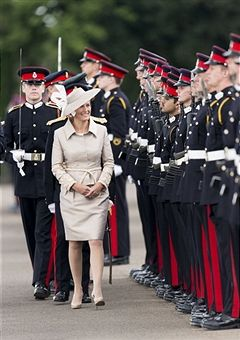 Sophie, Countess of Wessex takes the salute at The Sovereigns Parade at The Royal Military Academy on August 9, 2013 in Sandhurst, England.