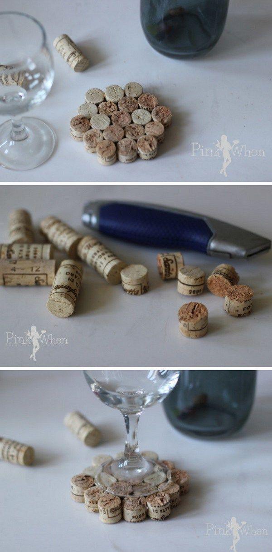 DIY Wine Cork Drink Coaster.