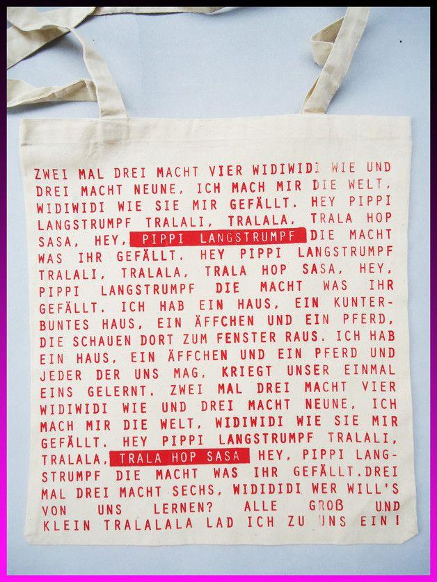 Canvasbeutel - Pippi Lied Tasche mit langen Träger - 100 % Baumw - ein Designerstück von Lottafun bei DaWanda
