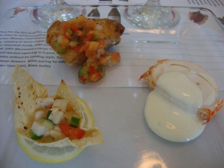 Conch, langoustine and grouper during the wine and seafood tasting