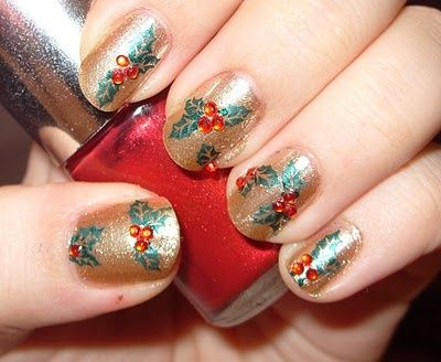 374 best christmas nail art images on pinterest nail scissors christmas holly nails christmas nail art prinsesfo Gallery