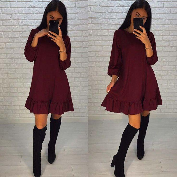 Fall 2017 Fashion Casual Women Dress Autumn Ruffle Three Quarter Sleeve Loose Mini Dresses Plus Size #FallFashion