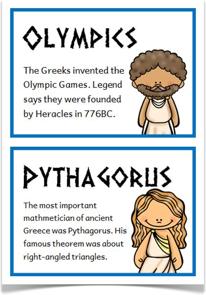 Ancient Greeks Fact Cards - Treetop Displays - A set of 24 A5 fact cards that give fun and interesting facts about the ancient Greeks. Each fact card has a key word heading, making this set an excellent word bank as well! Visit our website for more information and for other printable resources by clicking on the provided links. Designed by teachers for Early Years (EYFS), Key Stage 1 (KS1) and Key Stage 2 (KS2).