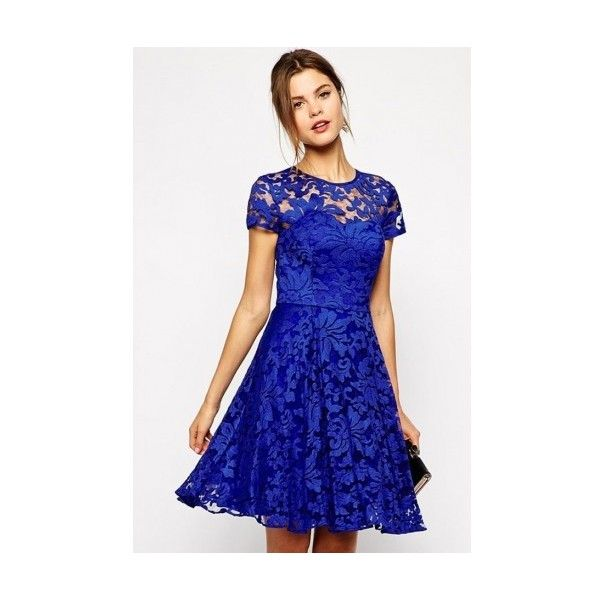 WithChic Royal Blue Lace Cut Out Skater Dress ($16) ❤ liked on Polyvore featuring dresses, blue cutout dress, cut out skater dress, lacy dress, cut-out dresses and lace dress