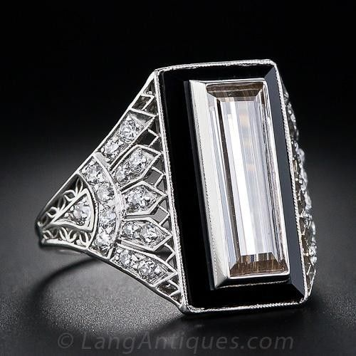 182 carat cognac diamond baguette and onyx and diamond art deco ring truly one of the most dramatic and entrancing original art deco diamond rings ever