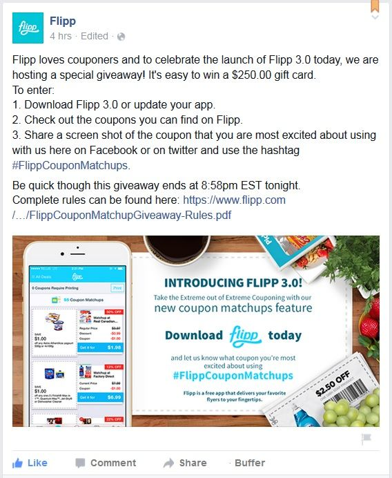You Will Flipp Over This Contest | SHORT RULES: One (1) $250 gift card to be won. Open to Canada (no QC) and the United States (no FL). Ends at 8:58pm on Thursday September 24th 2015. Entries only accepted via Facebook and Twitter.
